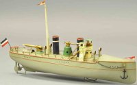 Carette Tin-Ships Sleek gunboat shaped for speed and...