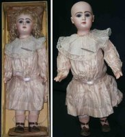 Jumeau Dolls Bisque socket head doll #12, painted facial...
