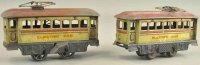 Carette Tin-Trams Trolley and trailer, lithographed tin...