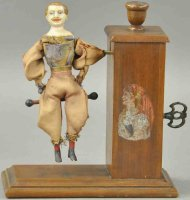 Ives Wood-Figures Boy as acrobat, cloth dressed figure...