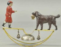 Brown George Tin-Figures Boy with dog as bell toy,...