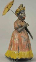 Unknown Tin-Figures Black woman with umbrella, hand...
