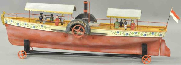 Maltête et Parent Tin-Ships Paddle wheel boat, hand painted clockwork boat with beautifu