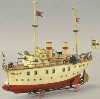 Maerklin Tin-Ships Battleship METEOR, hand painted two...