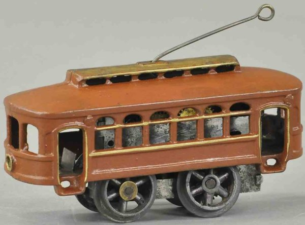 American Flyer Cast-Iron-Trams Clockwork trolley, extremely rare cast iron example with onl