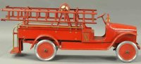 Buddy L Tin-Fire-Truck Hook and ladder truck, rear step...