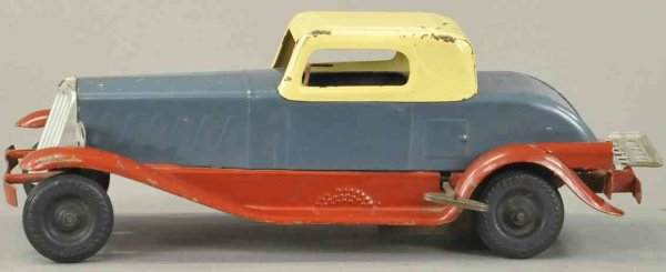 Girard Tin-Cars Unusual colored coupe in red, gray and yellow, clockwork dri