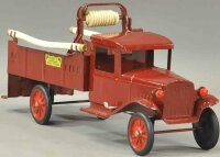 Buddy L Tin-Trucks Hose truck in red, red disc wheels...