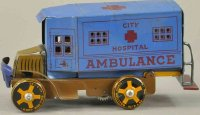 Marx Tin-Trucks Mack ambulance truck in blue, sides read...
