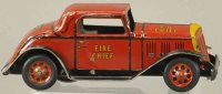 Marx Tin-Fire-Truck Fire chief coupe in red and yellow,...