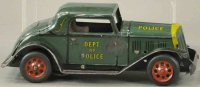 Marx Tin-Oldtimer Police chief coupe in green and yellow,...
