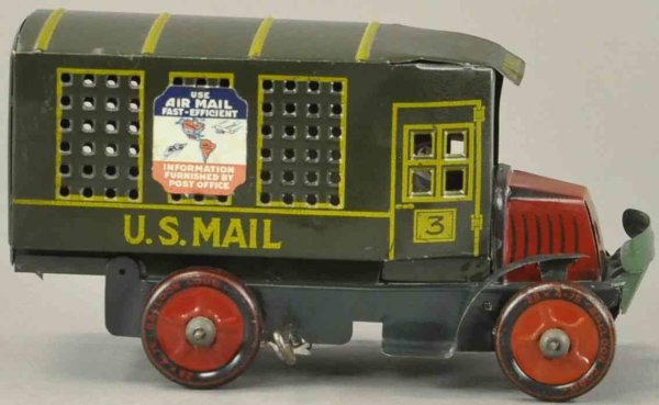 Marx Vehicles-Trucks US mail car 10,5