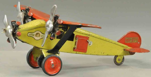 Steelcraft Tine Ariplanes Mail airplane, pressed steel, fuselage painted in yellow wit