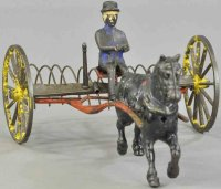 Wilkins Cast-Iron-Carriages Horse drawn hay rake with...