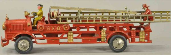 Hubley Tin-Fire-Truck HFD hook and ladder fire truck, made of cast iron,  impressi