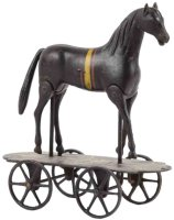 Ives Cast-Iron-animals Walking horse on platform made of...