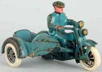 Hubley Cast-Iron-Motorcycles Motorcycle with civilian...