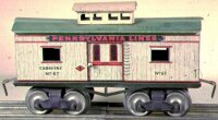 Ives Railway-Freight Wagons Caboose #67 (1910) with eight...