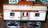 Ives Railway-Freight Wagons Caboose #67 (1912) with eight...