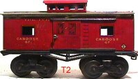 Ives Railway-Freight Wagons Caboose #67 (1914) with eight...