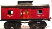 Ives Railway-Freight Wagons Caboose #67 (1915) with eight...