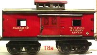 Ives Railway-Freight Wagons Caboose #67 (1919) with eight...