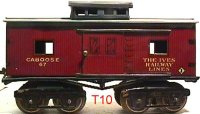 Ives Railway-Freight Wagons Caboose #67 (1922) with eight...