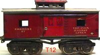 Ives Railway-Freight Wagons Caboose #67 (1925) with eight...