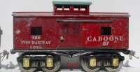 Ives Railway-Freight Wagons Caboose #67 (1928) with eight...