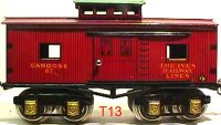 Ives Railway-Freight Wagons Caboose #67 (1929) with eight...