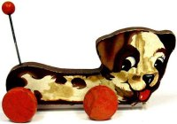 Fisher-Price Wood-Animals Waggy Woofy #437, dog on red...