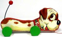 Fisher-Price Wood-Animals Fuzzy Fido #444, dog made of wood
