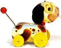 Fisher-Price Wood-Animals Woofy Wagger #465, dog with two...