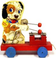 Fisher-Price Wood-Figures Merry Mutt #473 on red platform...