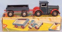 Arnold Tin-Trucks Truck with trailer and original box,...