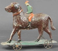 Althof Bergmann & C0 Tin-Figures Boy riding on dog,...
