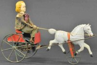 Brown George Tin-Carriages Girl in cart, single galloping...