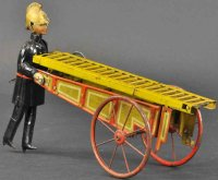 Unknown Tin-Figures German fireman with ladder cart, made...