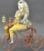 Vichy Tin-Automata Lady on tricycle. Rare and...
