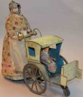Guenthermann Tin-Figures Woman with pram made of...
