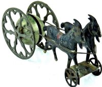 Gong Bell Cast-Iron Figures Two goats revolving  bell...