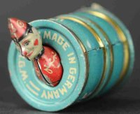 Stock Walter Tin-Penny Toy Clown in barrel #150, head and...
