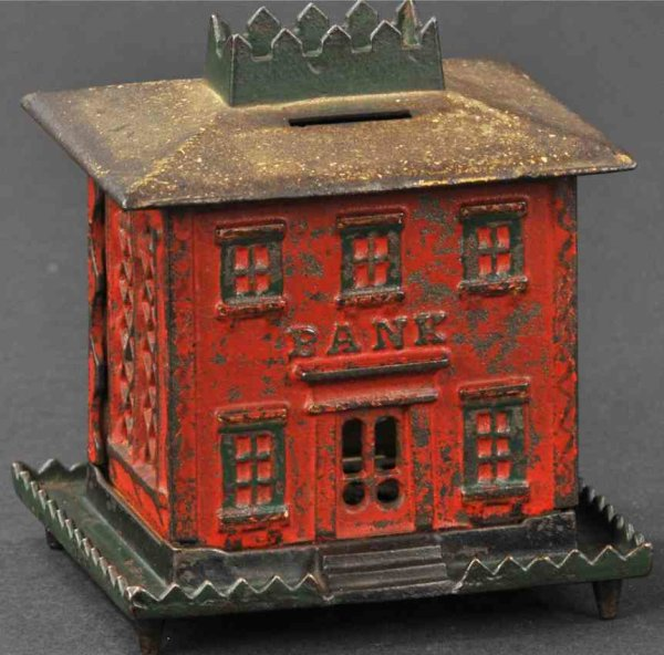 Stevens Co J. & E. Cast-Iron-Mechanical Banks Crown bank with tower on legs, still bank, cast iron,