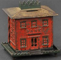 Stevens Co J. & E. Cast-Iron-Mechanical Banks Crown bank...