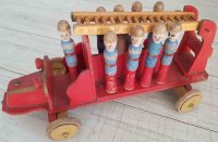 Unknown Wood-Figures Antique wooden fire truck and ladder...
