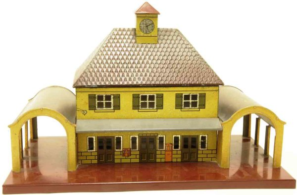 Bub Railway-Stations Railway station #861 in yellow lithographed, 1 passage with
