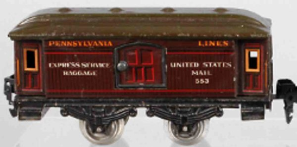 Bub Railway-Passenger Cars Baggage/mail car #1217 G with four wheels, chrome-lithograph