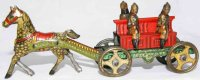 Meier Tin-Penny Toy Fire team crew car #1462 with horse...
