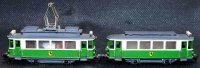 Hamo Tin-Trams Tram railcar with trailer, in green and...