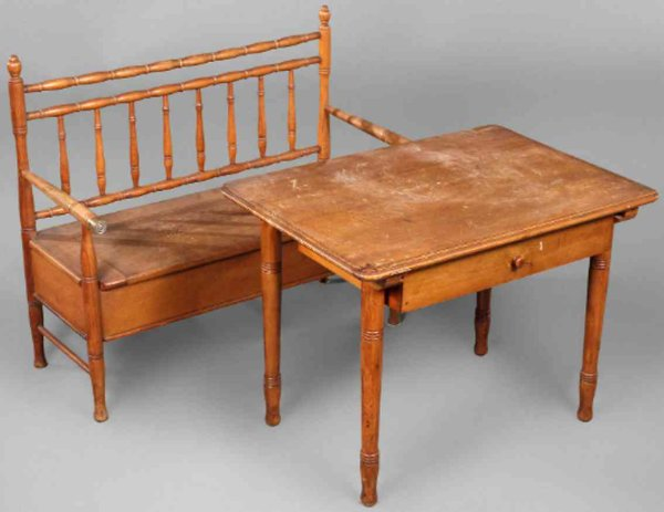 Naether Ernst Albert Wood-Toys Childrens furniture, bench and table, not marked. The wide